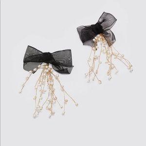 Zara pearl bow earrings